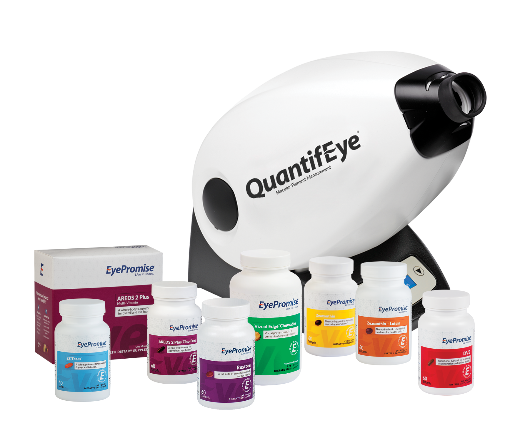 EyePromise product family and QuantifEye MPS II instrument.